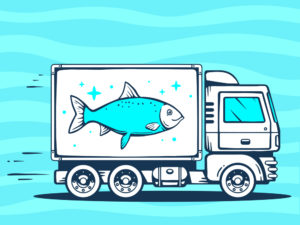 truck moving a fish tank
